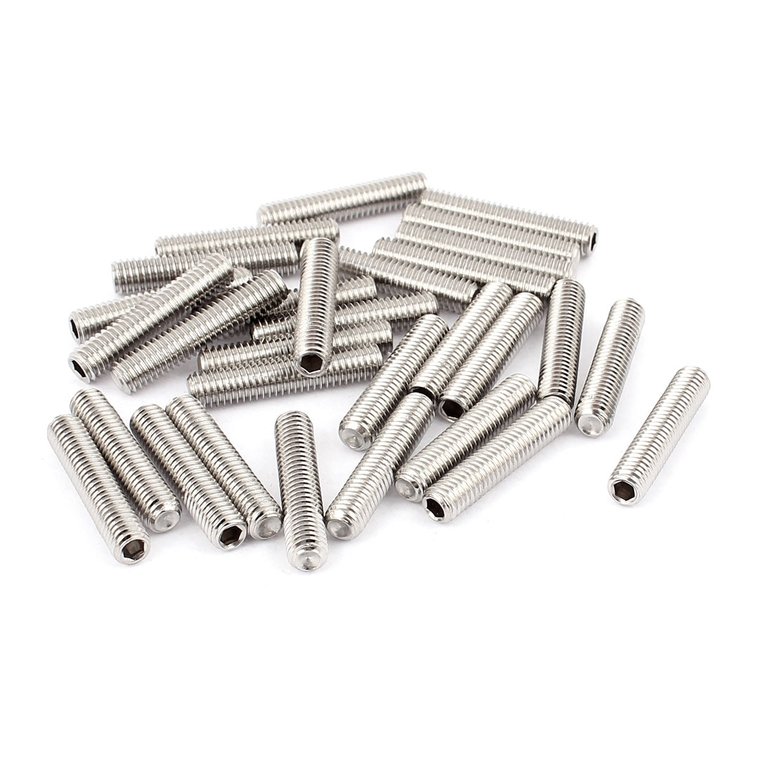 M6x30mm Stainless Steel Hex Socket Set Cap Point Grub Screws Silver Tone 30Pcs
