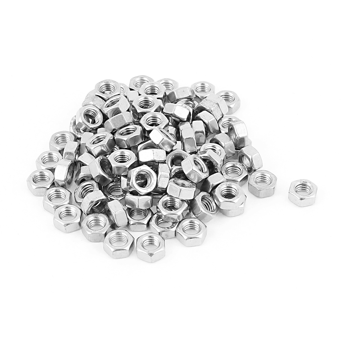5mm Thread Dia Electric Machine Fastener Metal Screws Hex Nut Silver Tone 100Pcs
