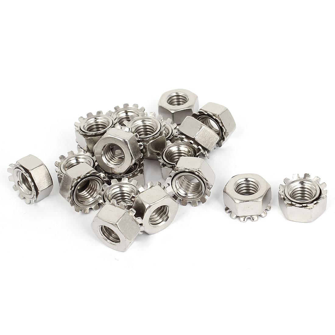 10mm Thread Dia Nickel Plated External Tooth K Lock Kep Nut Silver Tone 20Pcs
