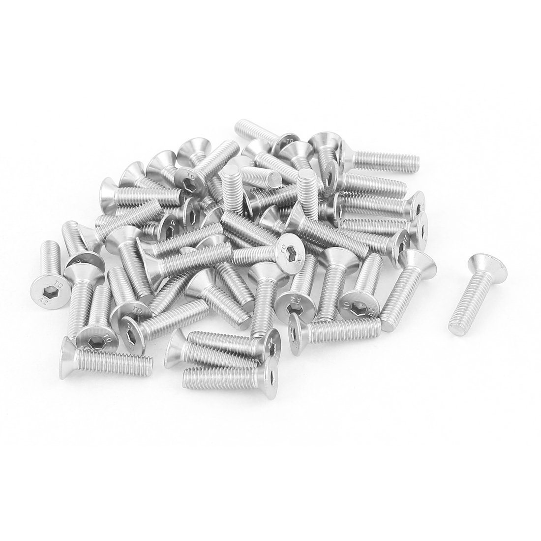M5x20mm Stainless Steel Hex Socket Flat Head Countersunk Bolts Screw 50Pcs