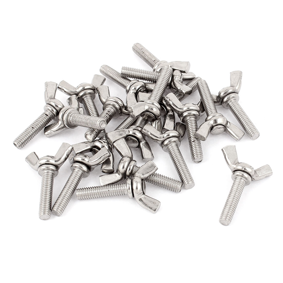 M5x20mm Thread Stainless Steel Wing Bolt Butterfly Screws Silver Tone 20Pcs