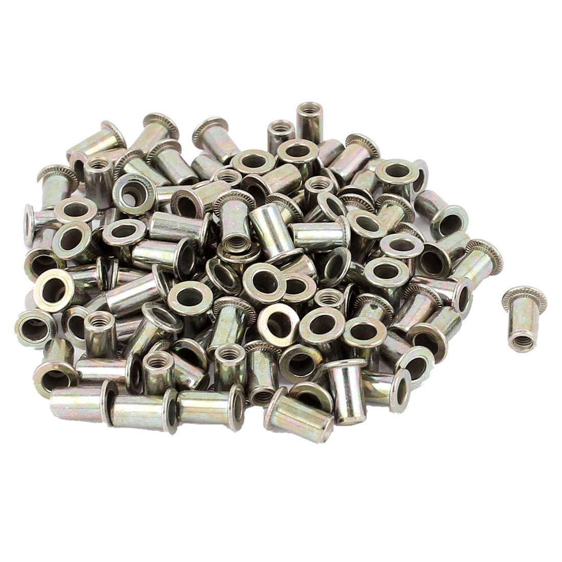 3mm Thread Dia Zinc Plated Rivet Nut Insert Nutsert Brass Tone 100Pcs