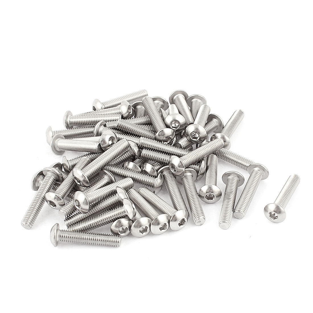 M5x25mm Stainless Steel Button Head Hex Socket Cap Screws Silver Tone 50Pcs