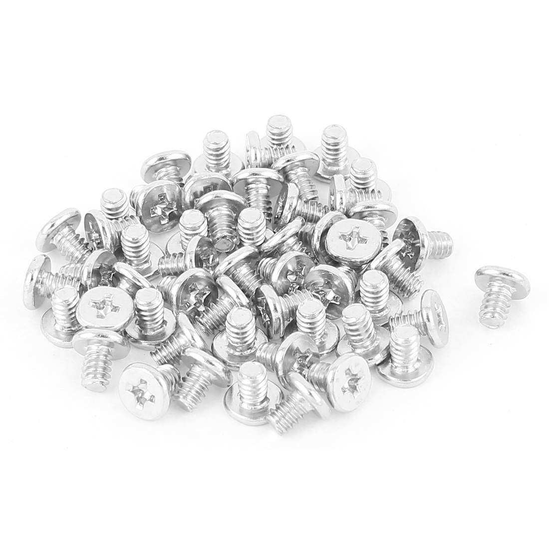 6#-32x5 Nickel Plated Countersunk Phillips Flat Head Screws Silver Tone 50Pcs