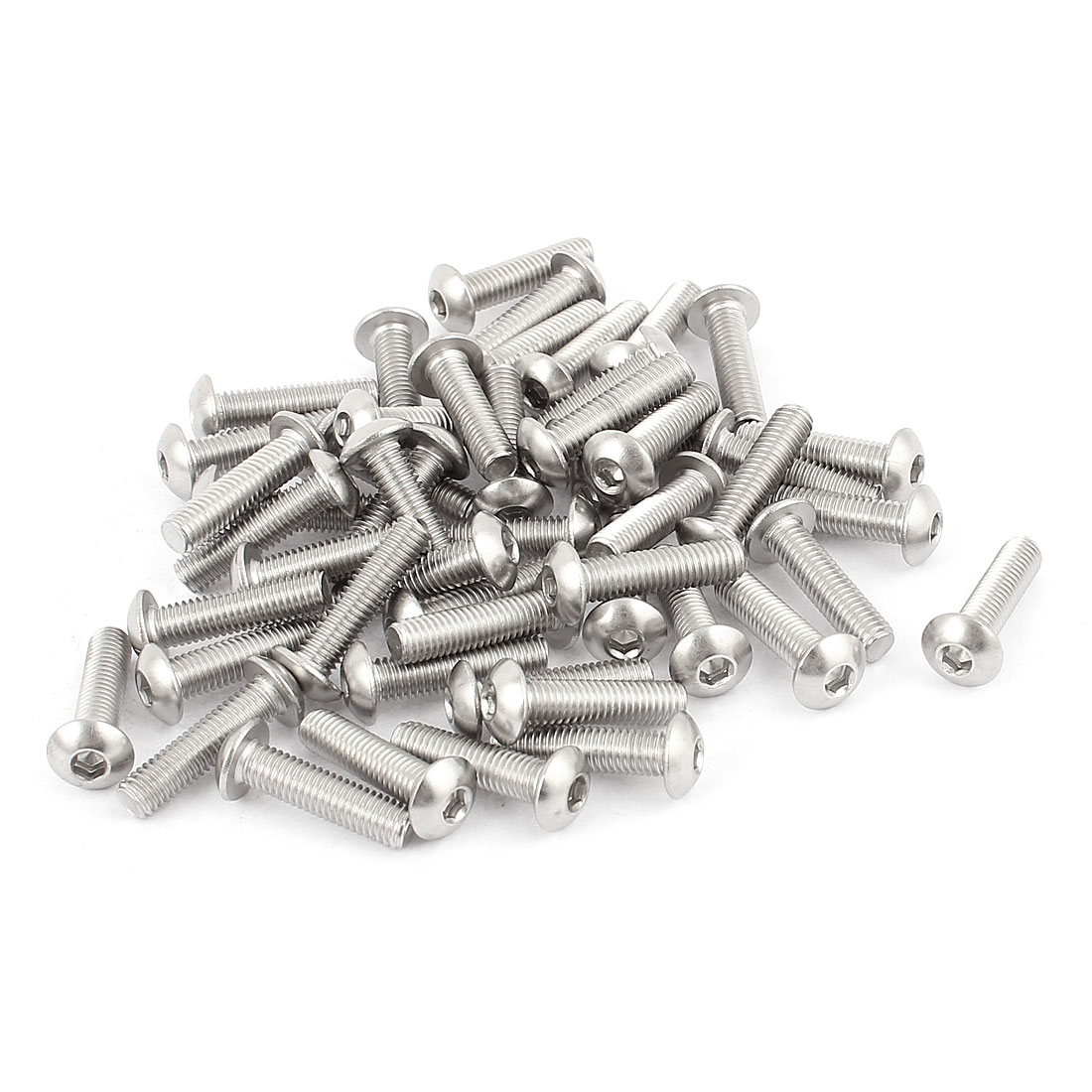 M5x20mm Stainless Steel Button Head Hex Socket Cap Screws Silver Tone 50Pcs