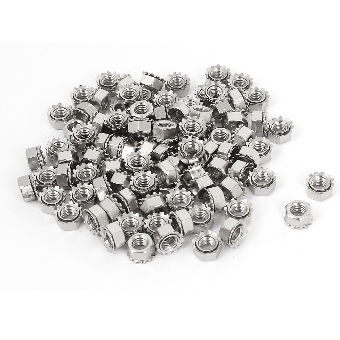 5mm Thread Dia Nickel Plated External Tooth K Lock Kep Nut Silver Tone 100Pcs