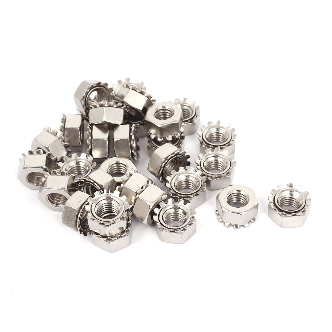 10mm Thread Dia Nickel Plated External Tooth K Lock Kep Nut Silver Tone 30Pcs