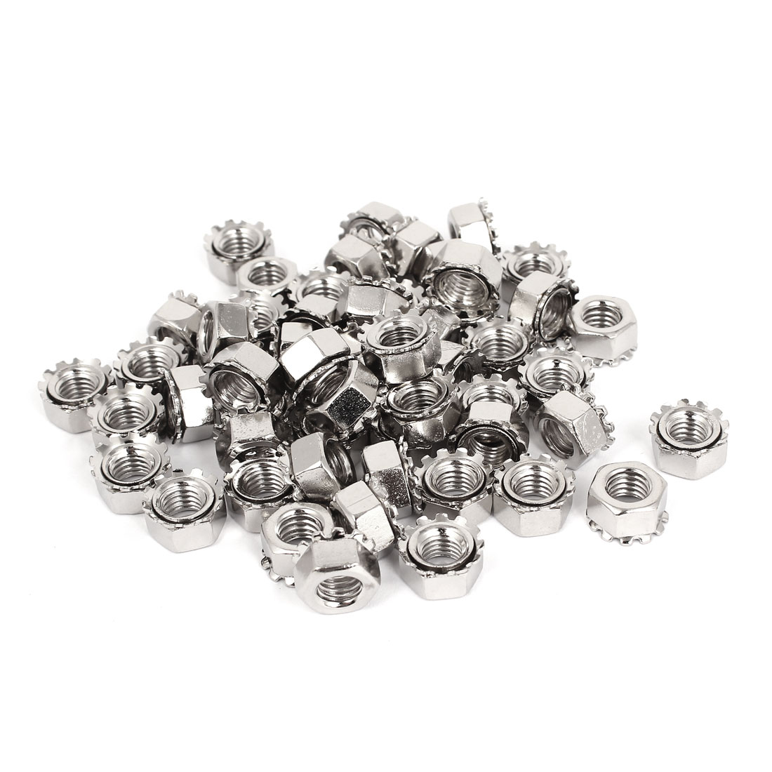 8mm Thread Dia Nickel Plated External Tooth K Lock Kep Nut Silver Tone 100Pcs