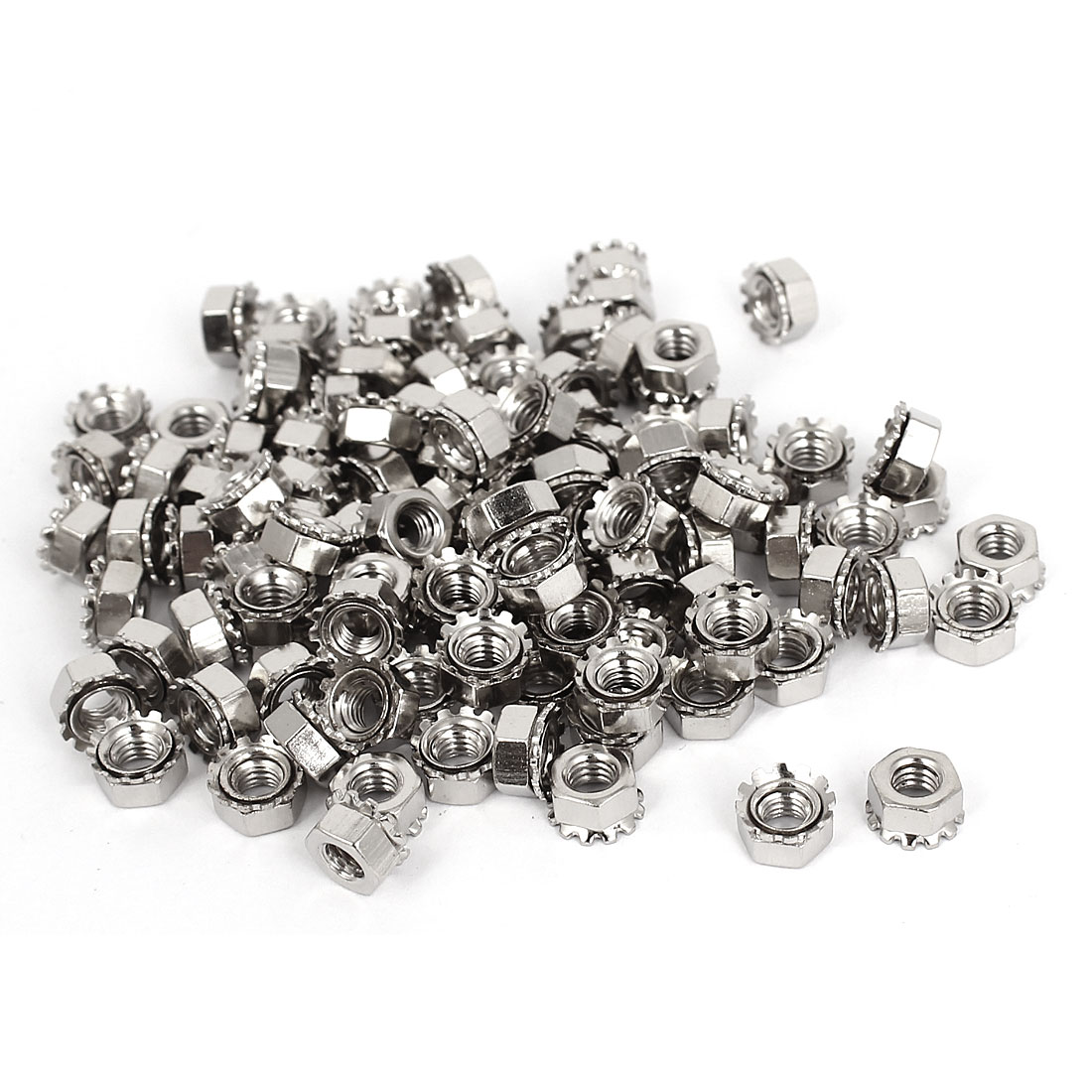 4mm Thread Dia Nickel Plated External Tooth K Lock Kep Nut Silver Tone 100Pcs