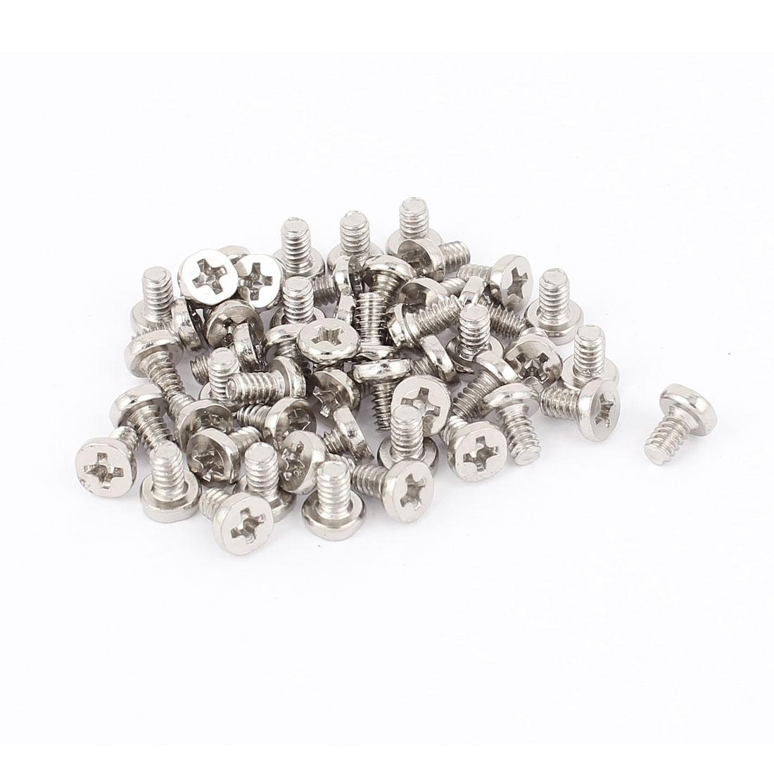 6#-32x6 Nickel Plated Countersunk Phillips Flat Head Screws Silver Tone 50Pcs