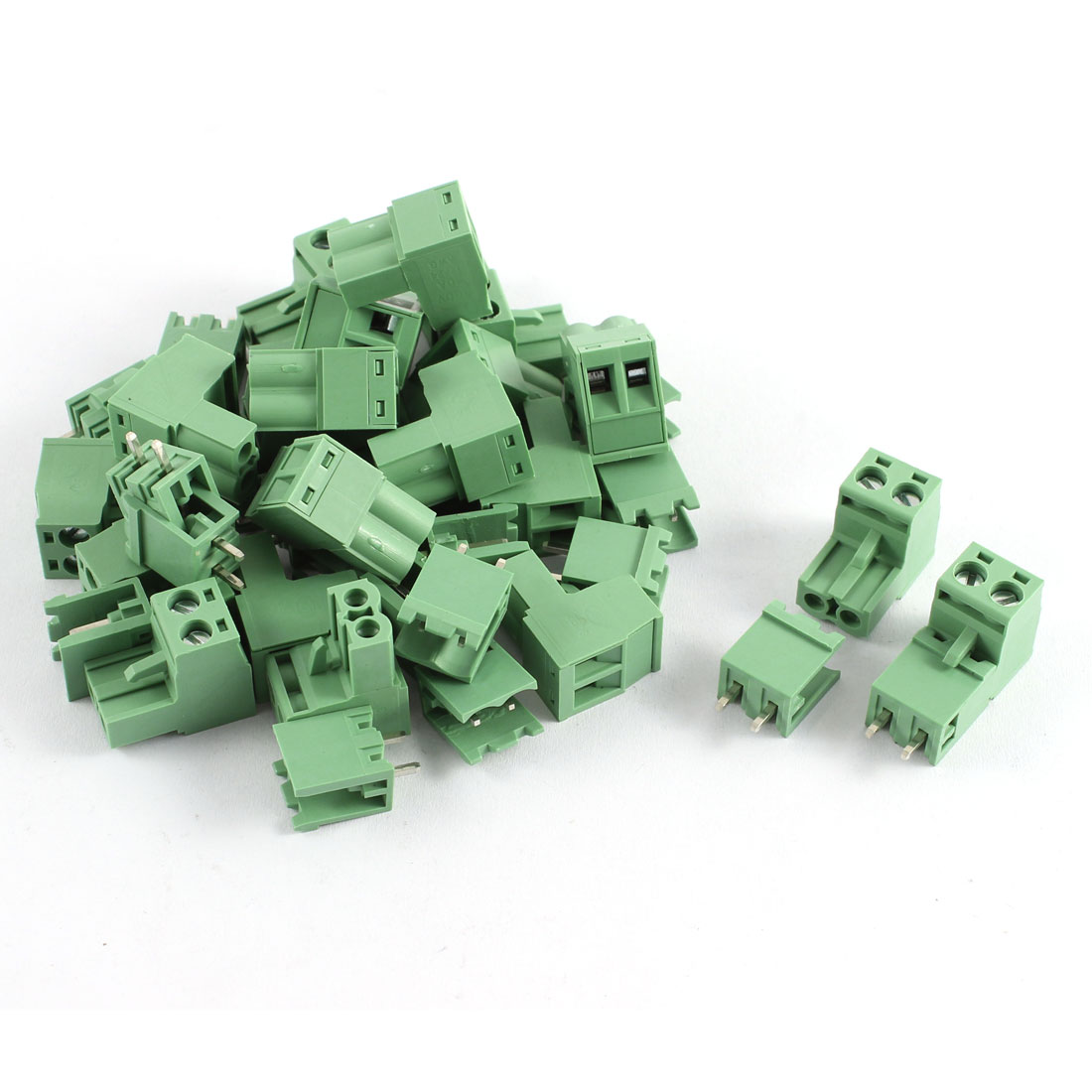 20 Pcs AWG 12-24 AC 300V 10A 2 Positions PCB Screw Terminal Block Connector Army Green