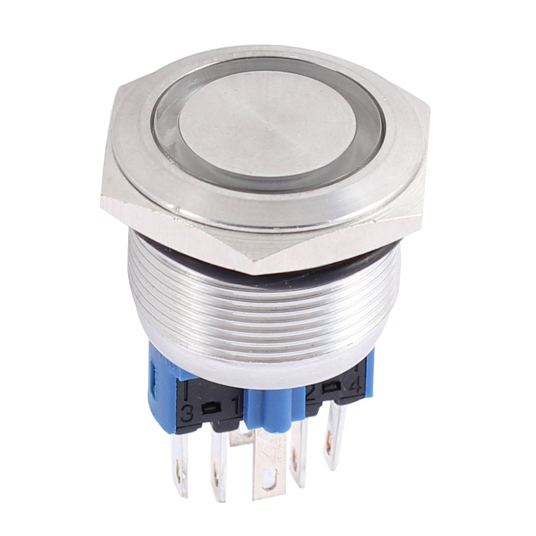 DC12V Yellow LED Angel Eye Shape Cap DPST 6 Terminal Flat Momentary Metal Push Button Switch 22mm Dia
