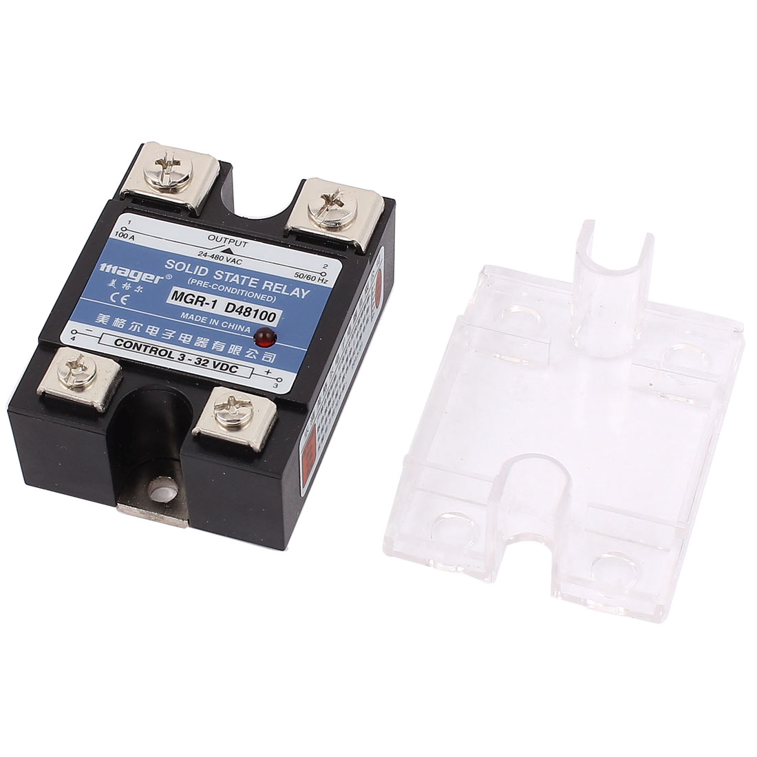 D48100 AC 24-480V 100A Output DC 3-32V Input Rectangle Base Single Phase Solid State Relay
