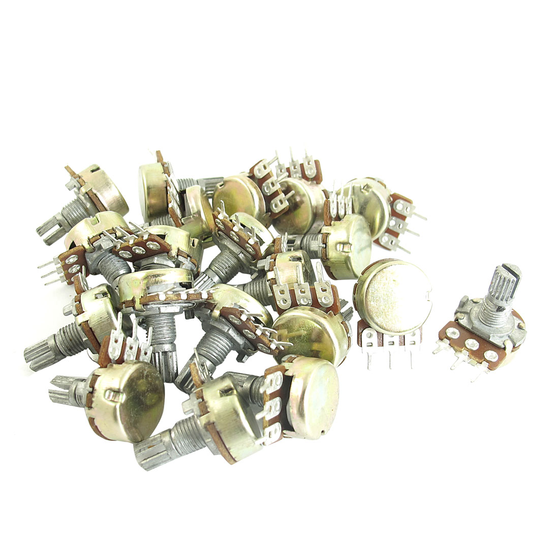 20Pcs B2K 2K Ohm Rotating Shaft 3 Terminals Rotary Audio Single Linear Taper Potentiometer