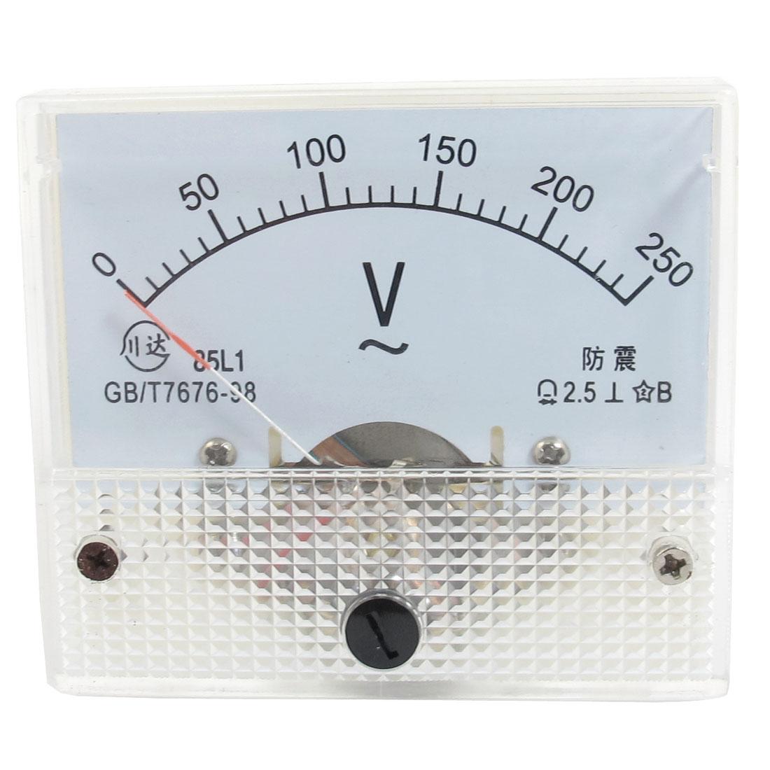 AC 0-250V Analog Volt Voltage Measurement Voltmeter Panel Meter White