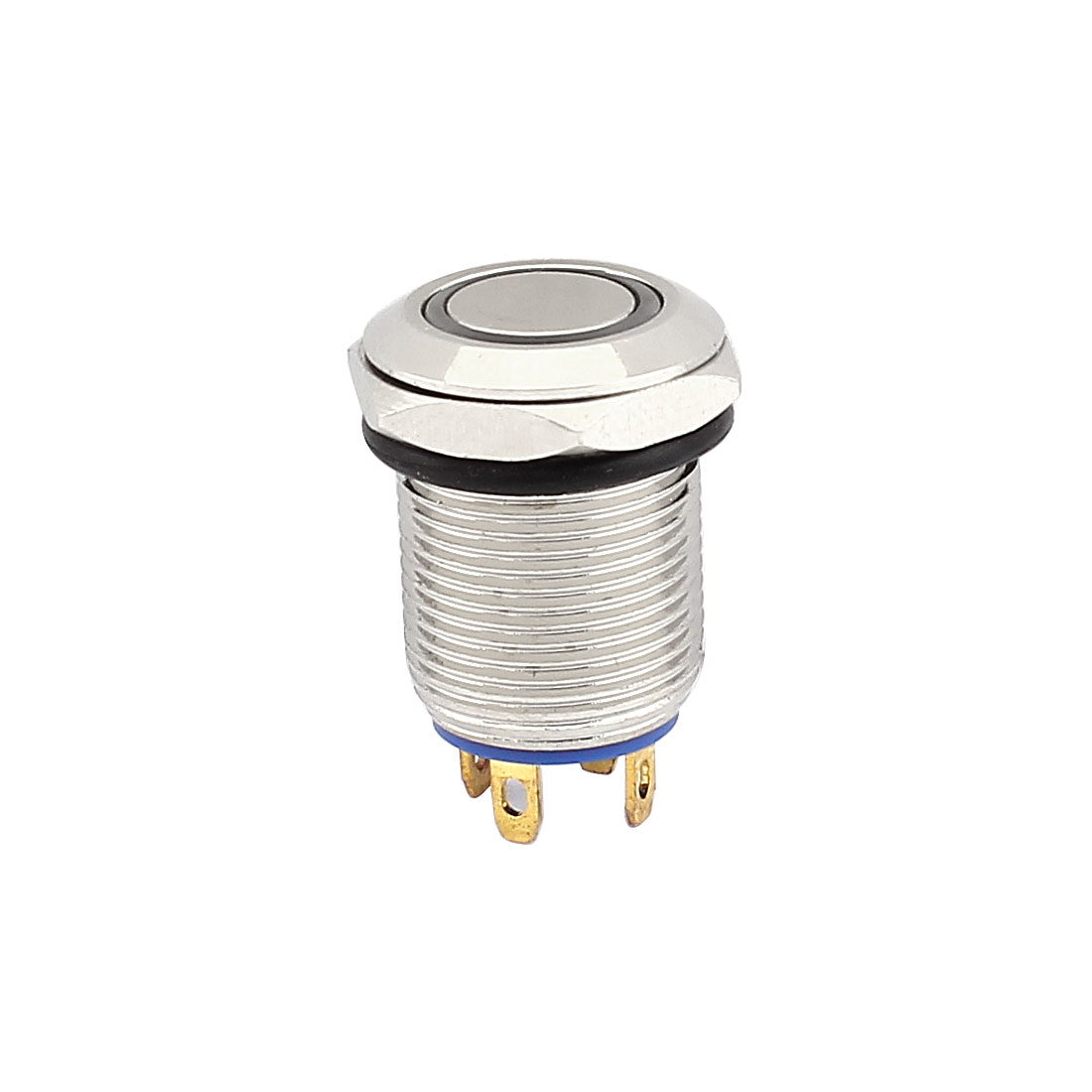 DC 3V Blue LED Angel Eye Shape Cap SPST 4 Terminal Flat Momentary Metal Push Button Pushbutton Switch 12mm Dia
