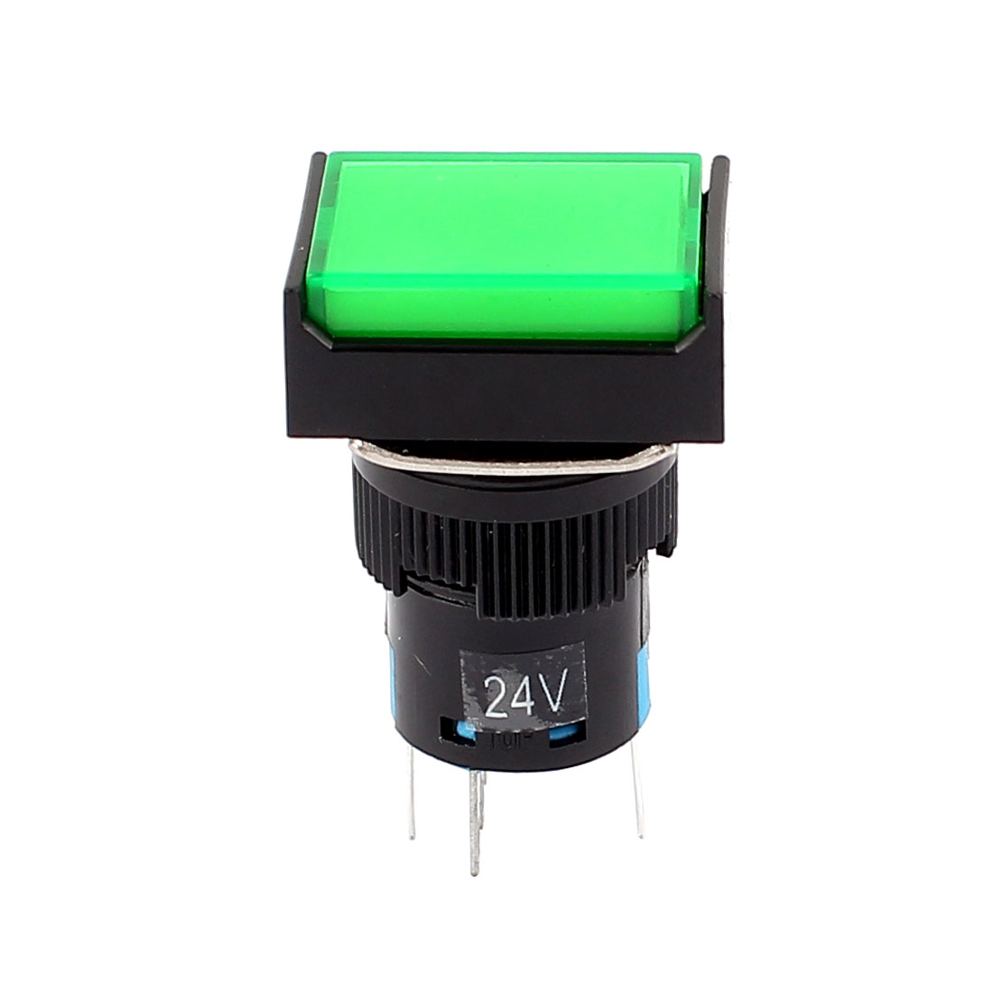 DC 24V SPST Green Indicator Lamp 5 Terminal 1NO 1NC Style Momentary Push Button Pushbutton Switch