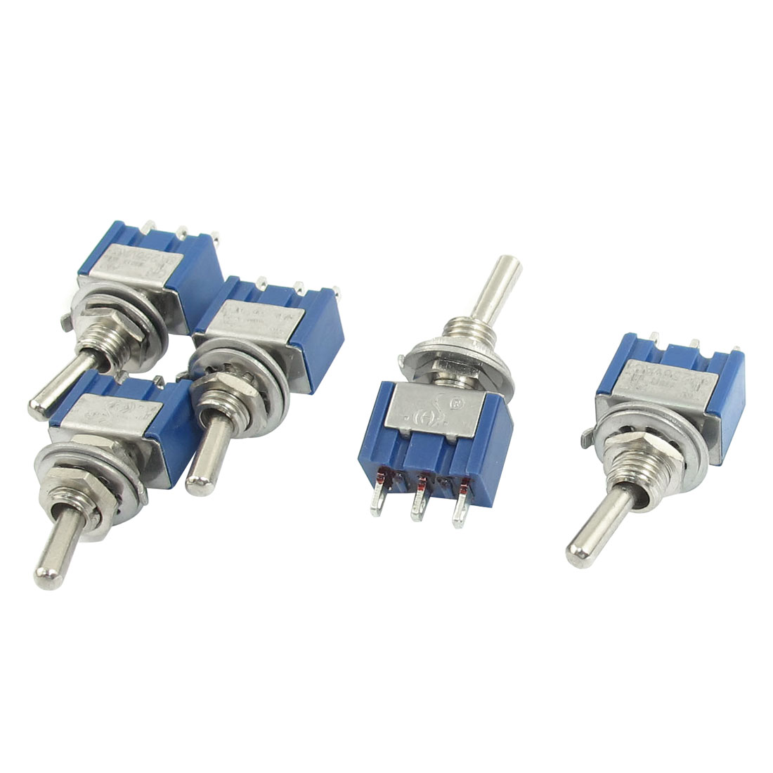 AC 250V 6A SPDT 3P ON-OFF 2 Positions Locking Rocker Toggle Switch 5pcs Blue