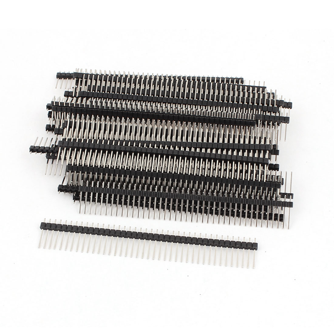40pcs PBC Mount 40 Pin 2.54mm Pitch Breakable Straight Single Row Male Header Connector Strip