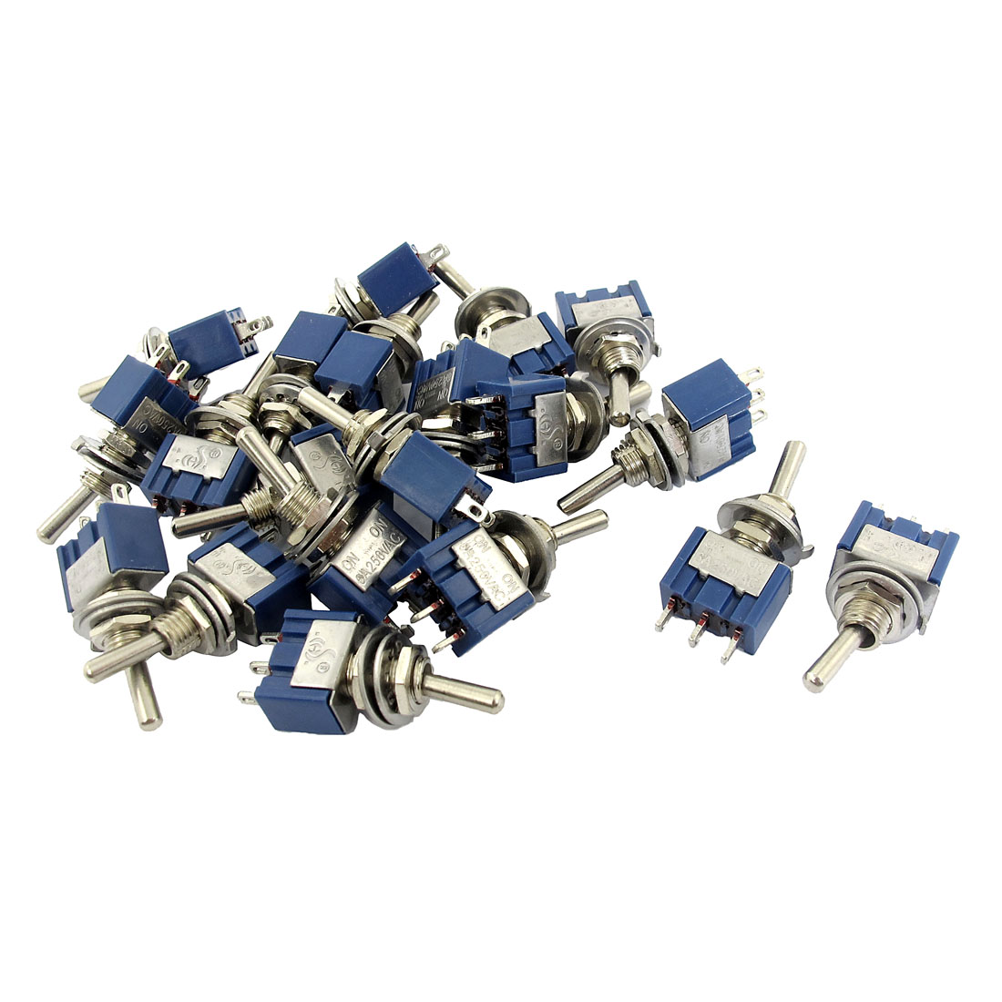 AC 250V 6A SPDT 3P ON-OFF 2 Position Locking Panel Mounting Rocker Controller Toggle Switch 20pcs Blue