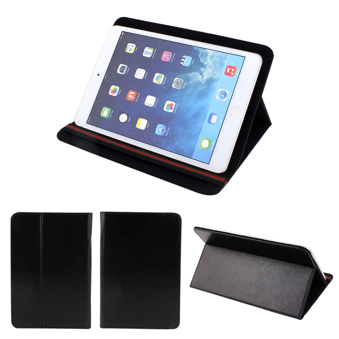 PC Protective Black PU Leather Stand Folding Folio Case Cover Pouch for Tablet 7 Inch