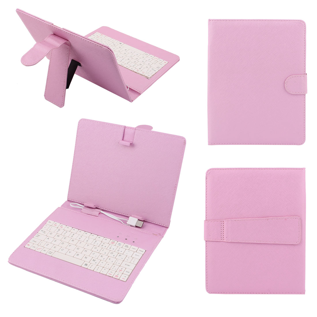 "Protective Folding PU Leather Flip Folio Stand USB Keyboard Case Cover w OTG Cable for Universal 8"" Tablet PC eBook Pink"