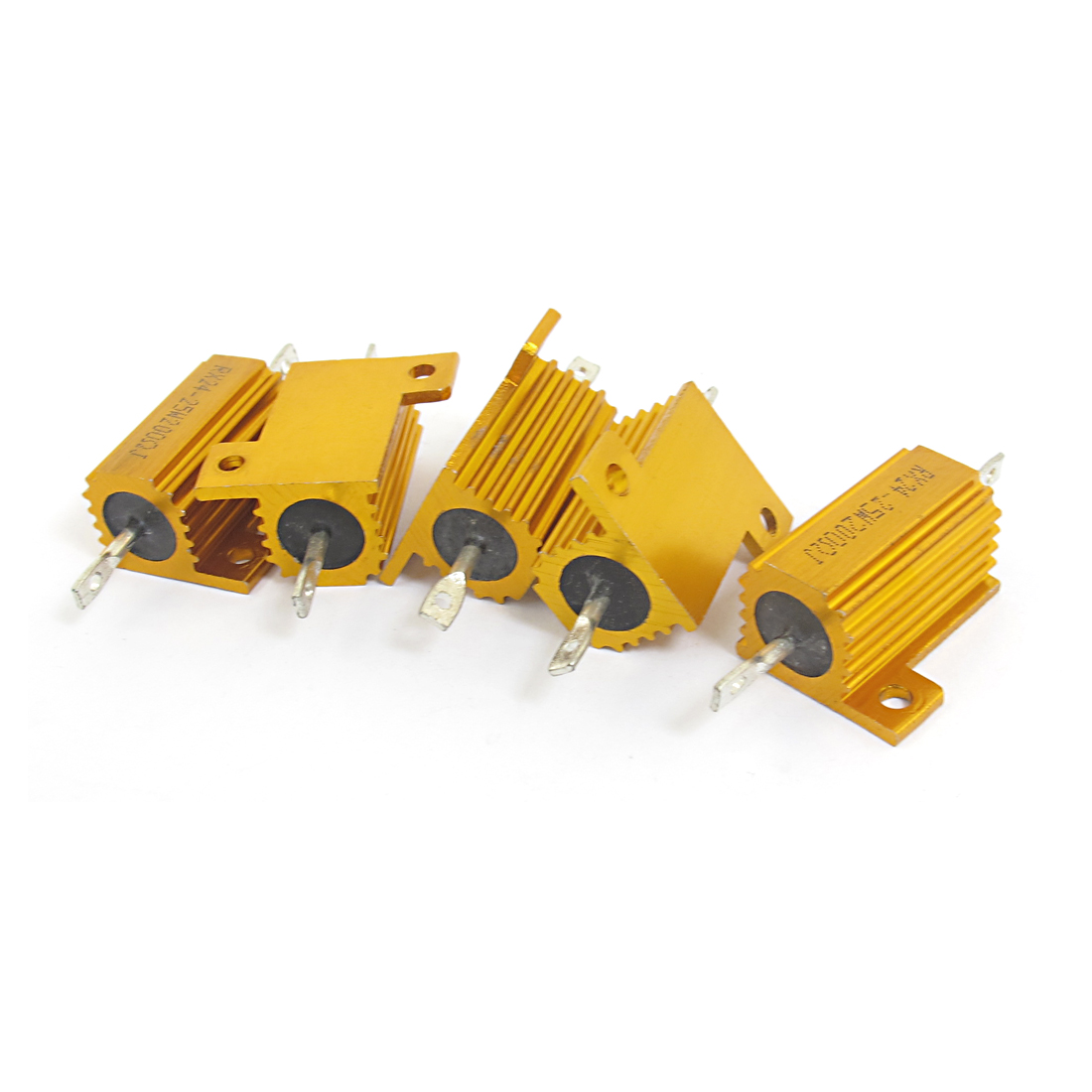 5pcs 25W 200 Ohm Resistance 5% Axial Yellow Chassis Mount Aluminum Clad Wirewound Power Resistor