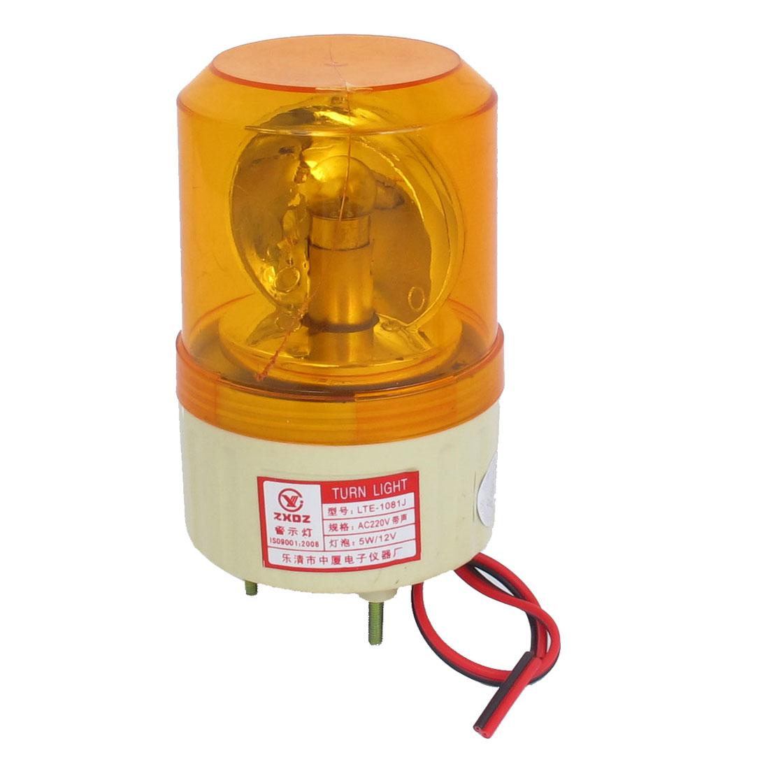 AC 220V Buzzer Sound Rotating Industrial Signal Warning Lamp Orange