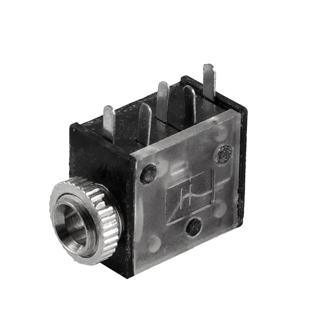 5 Terminals 3.5mm Stereo Jack Socket PCB Mount Connector Black Silver Tone