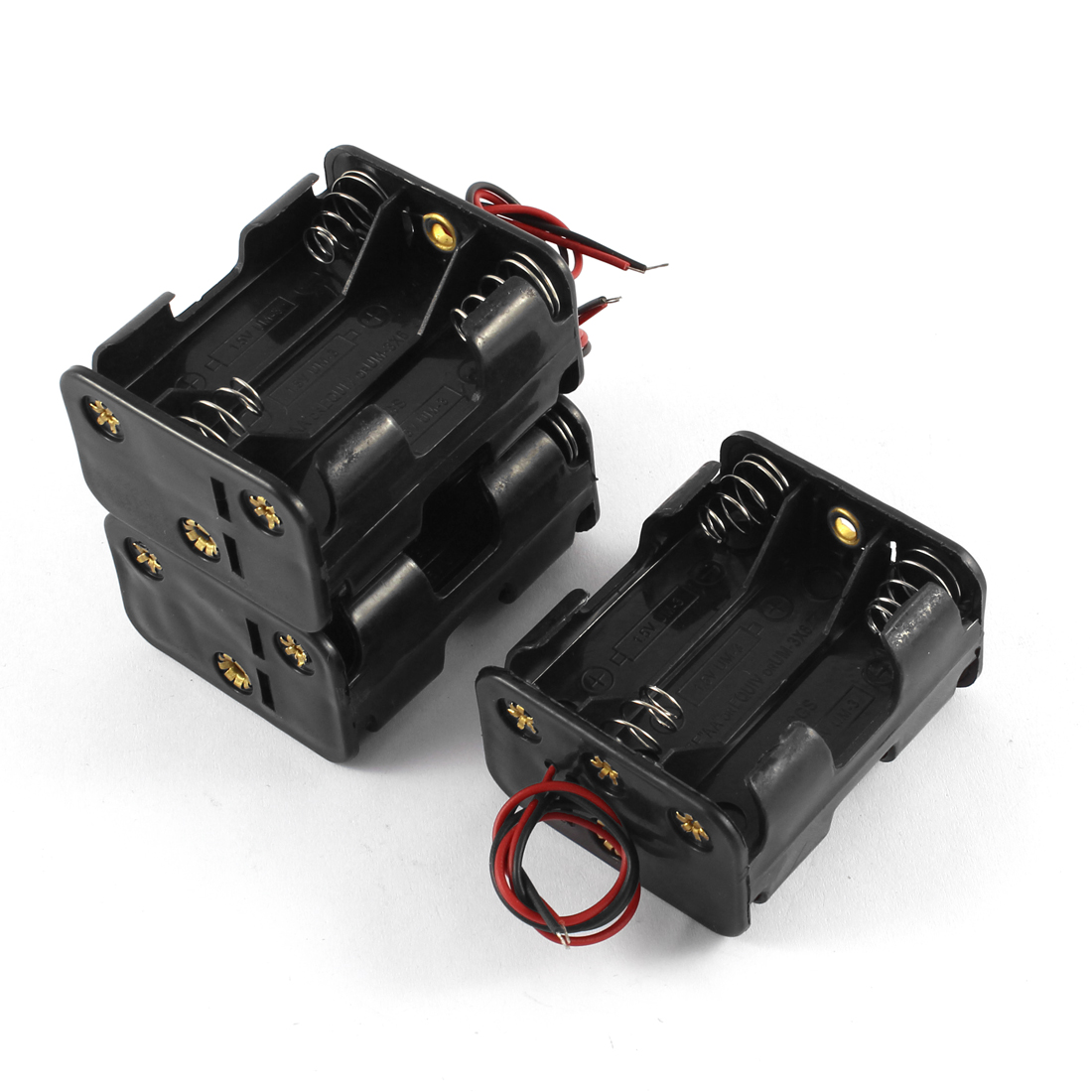 3 Pcs 2 Wire Leads 6 x 1.5V AA Battery Dual Sides Batteries Holder Case Black