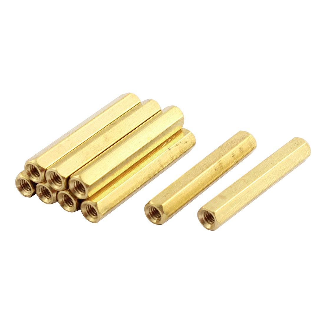 9 Pcs M3 x 30mm Female Brass Spacer Hex Standoff Screw Pillar Gold Tone