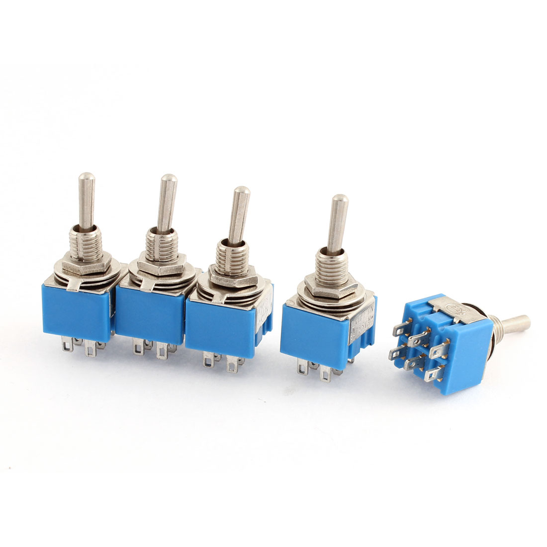 AC 125V 6A 3-Position ON-OFF-ON 6 Terminals Latching Toggle Switch 5 Pcs