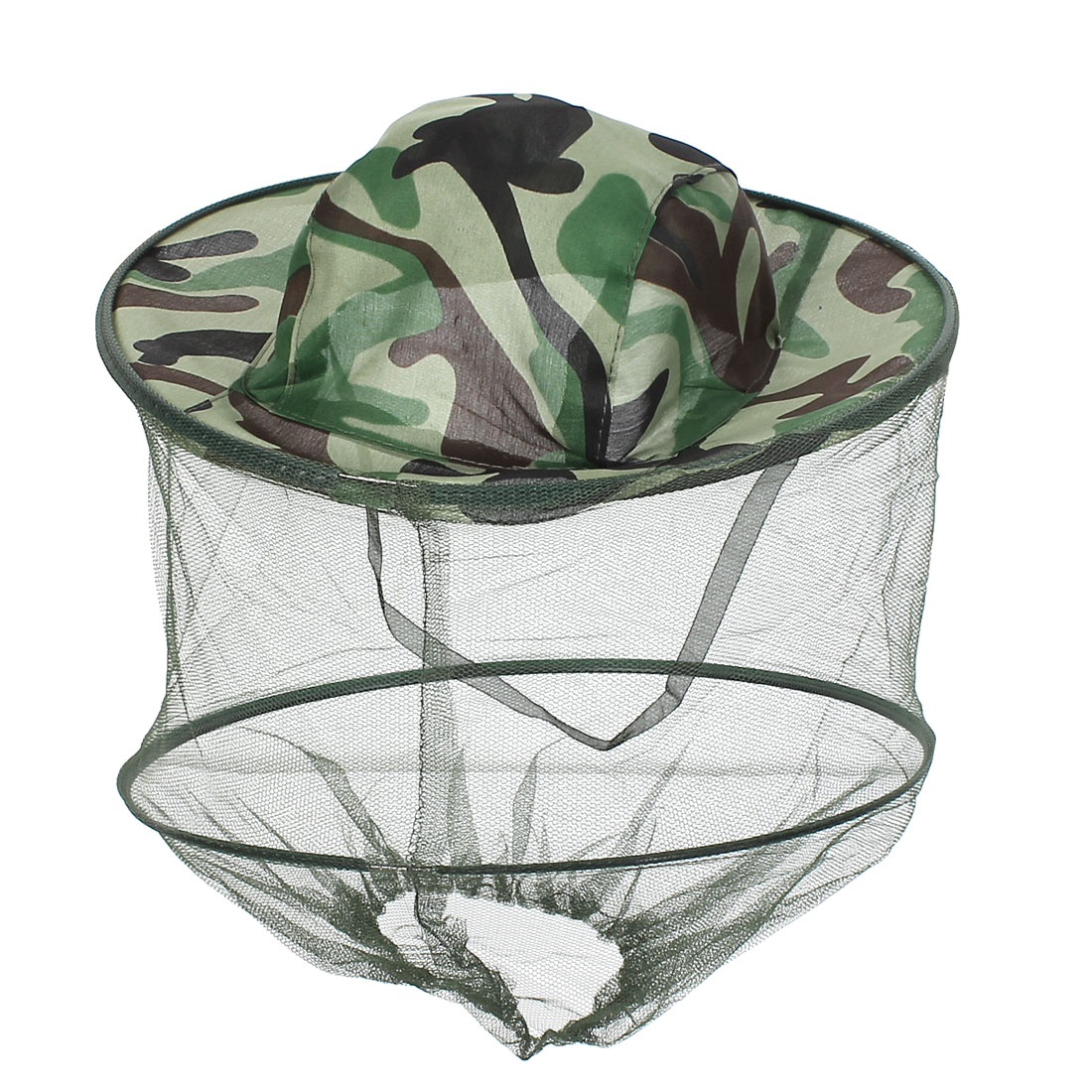 Camoflage Head Face Protect Net Fishing Anti-mosquito Insect Hat Green