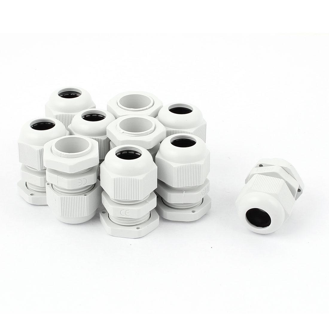 10 Pcs Plastic PG11 Waterproof Cable Glands Connectors White
