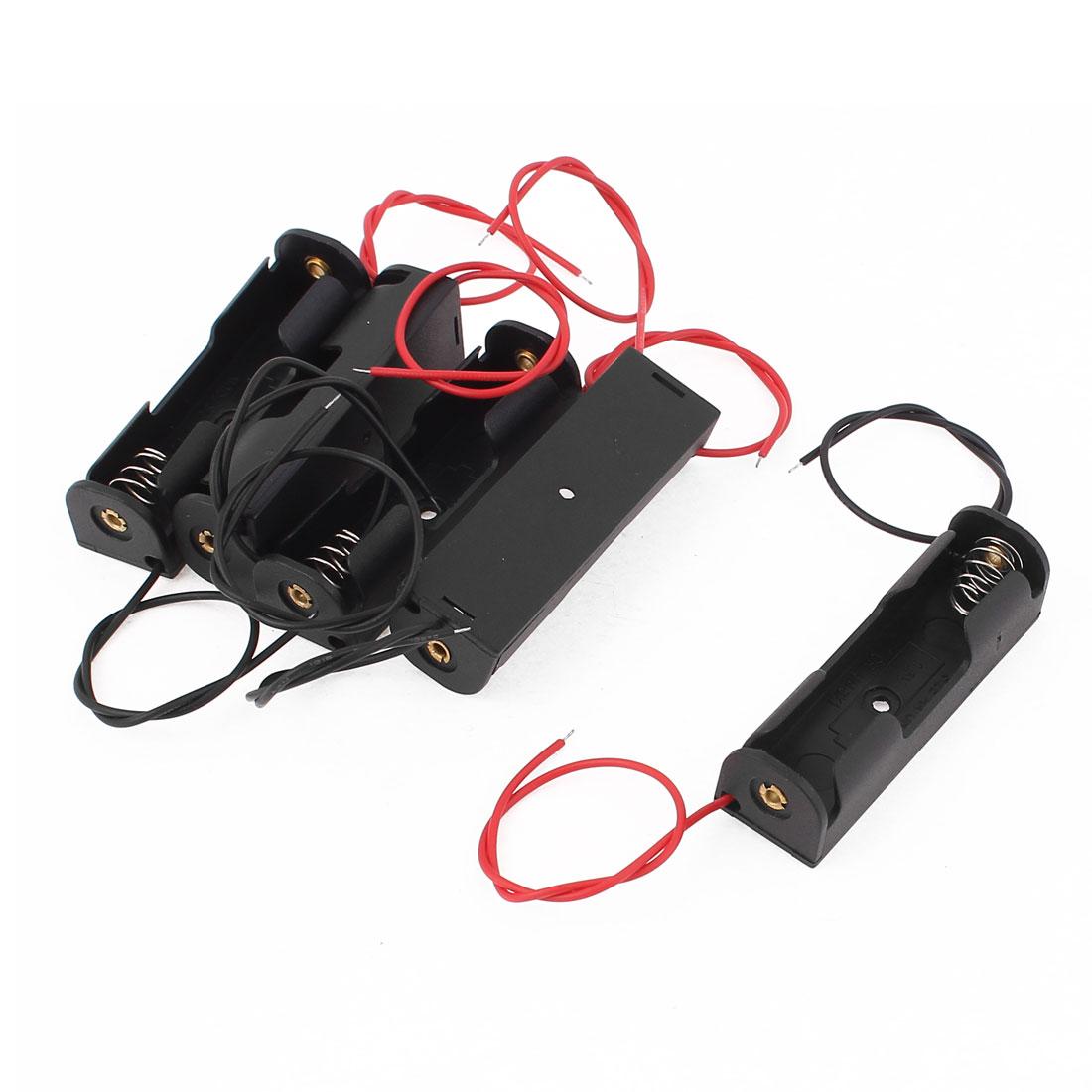 5pcs Spring Clip Plastic 1 x 1.5V AA Battery Case Holder Black