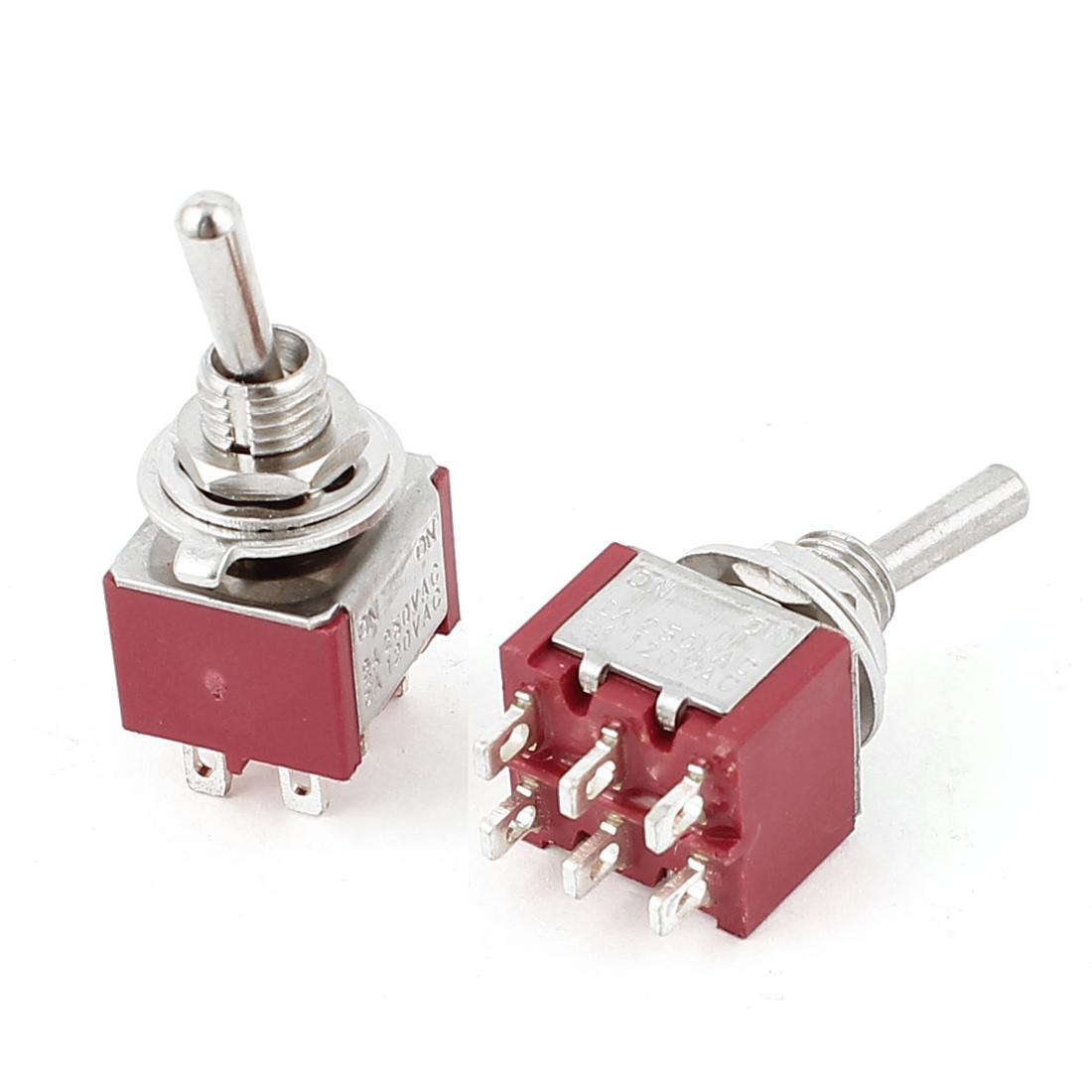 AC 250V 2A/AC 120V 5A Centre Spring Bias DPDT On-On Toggle Switch 2pcs