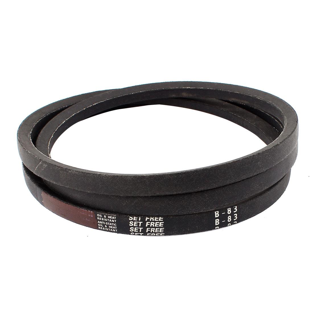 "Industrial Power Drive B83 B Section Rubber V Belt 5/8"" x 83"" Black"