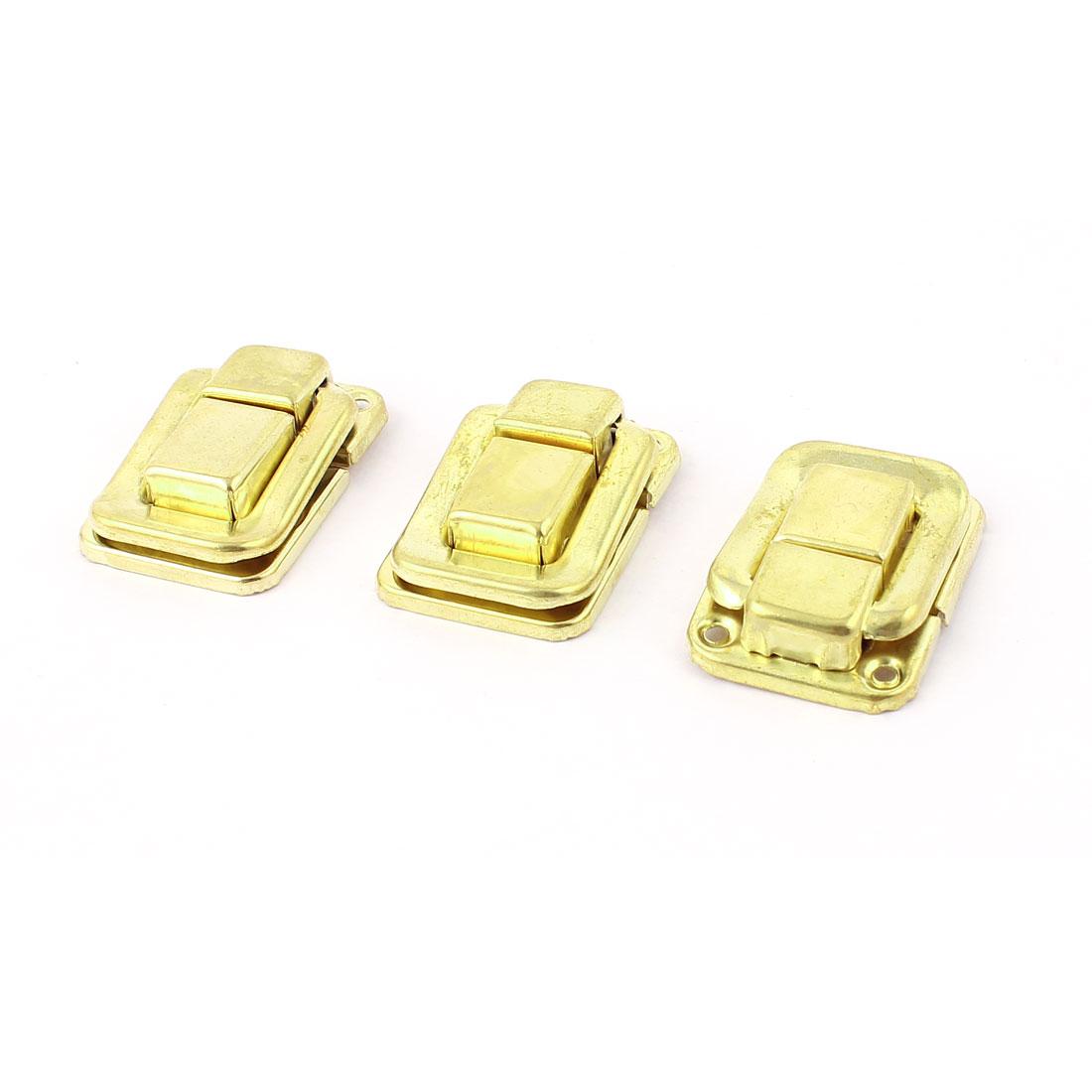 Furniture Hardware Box Case Locking Hasp Latch Locker 3pcs Gold Tone