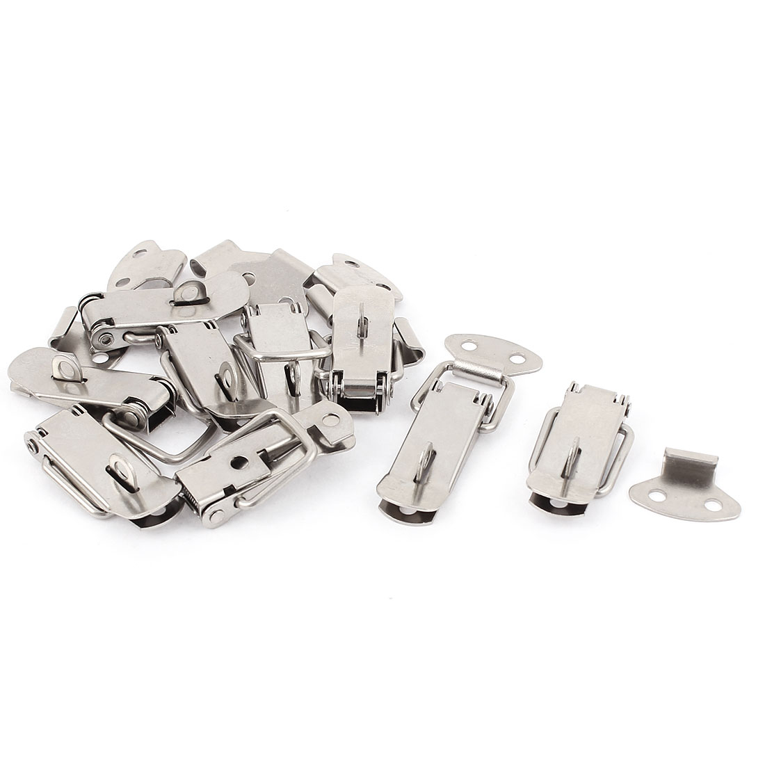 9pcs Box Chest Case Spring Loaded Draw Toggle Latch Silver Tone