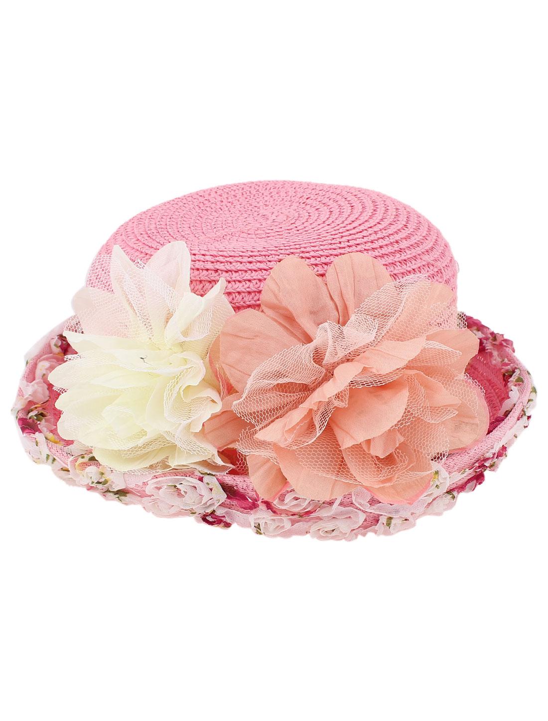Women Floral Pattern Wide Brim Summer Straw Sun Beach Hat Cloche Cap Pink