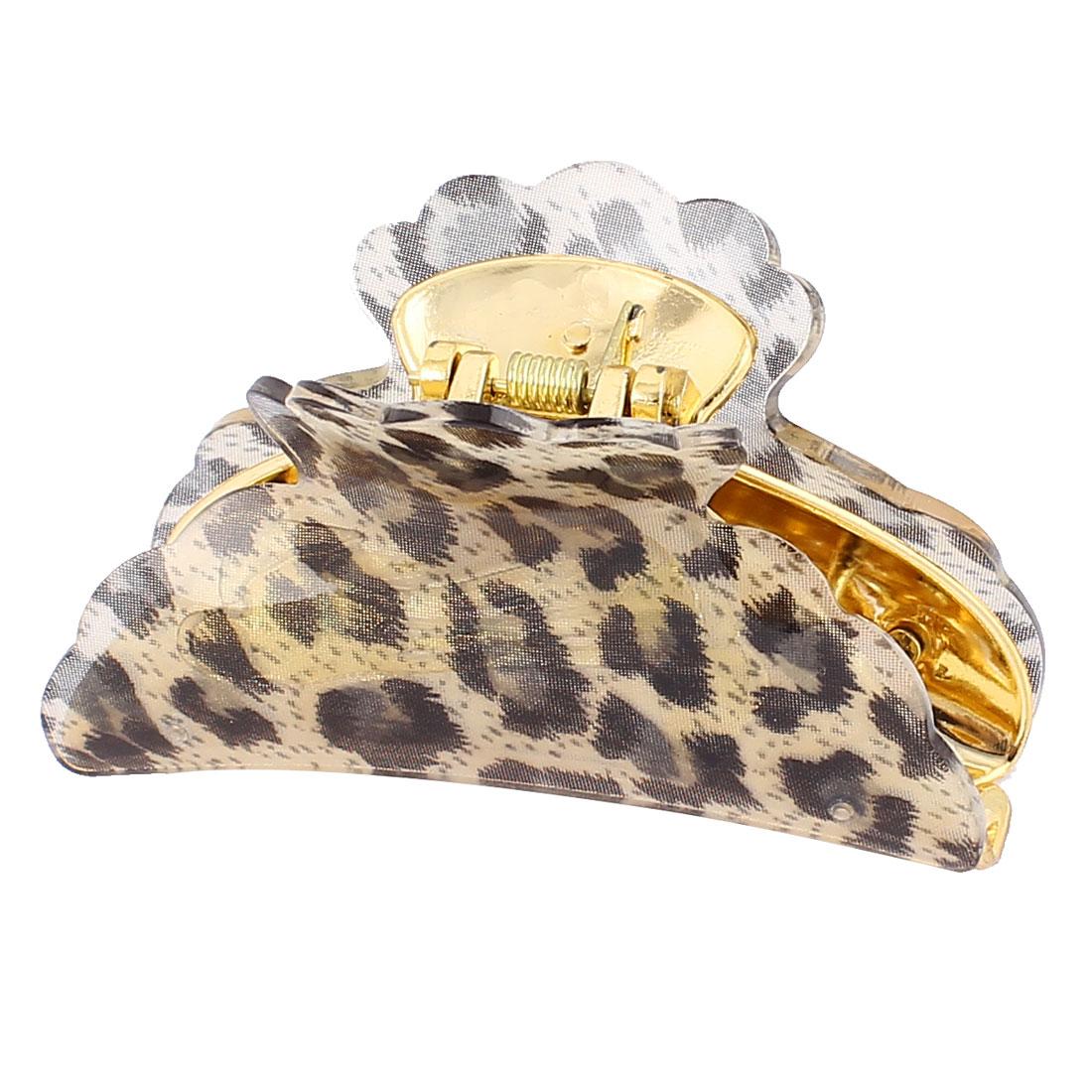 Women Plastic Teeth Leopard Pattern Hair Jaw Claw Clamp Clip Black Beige