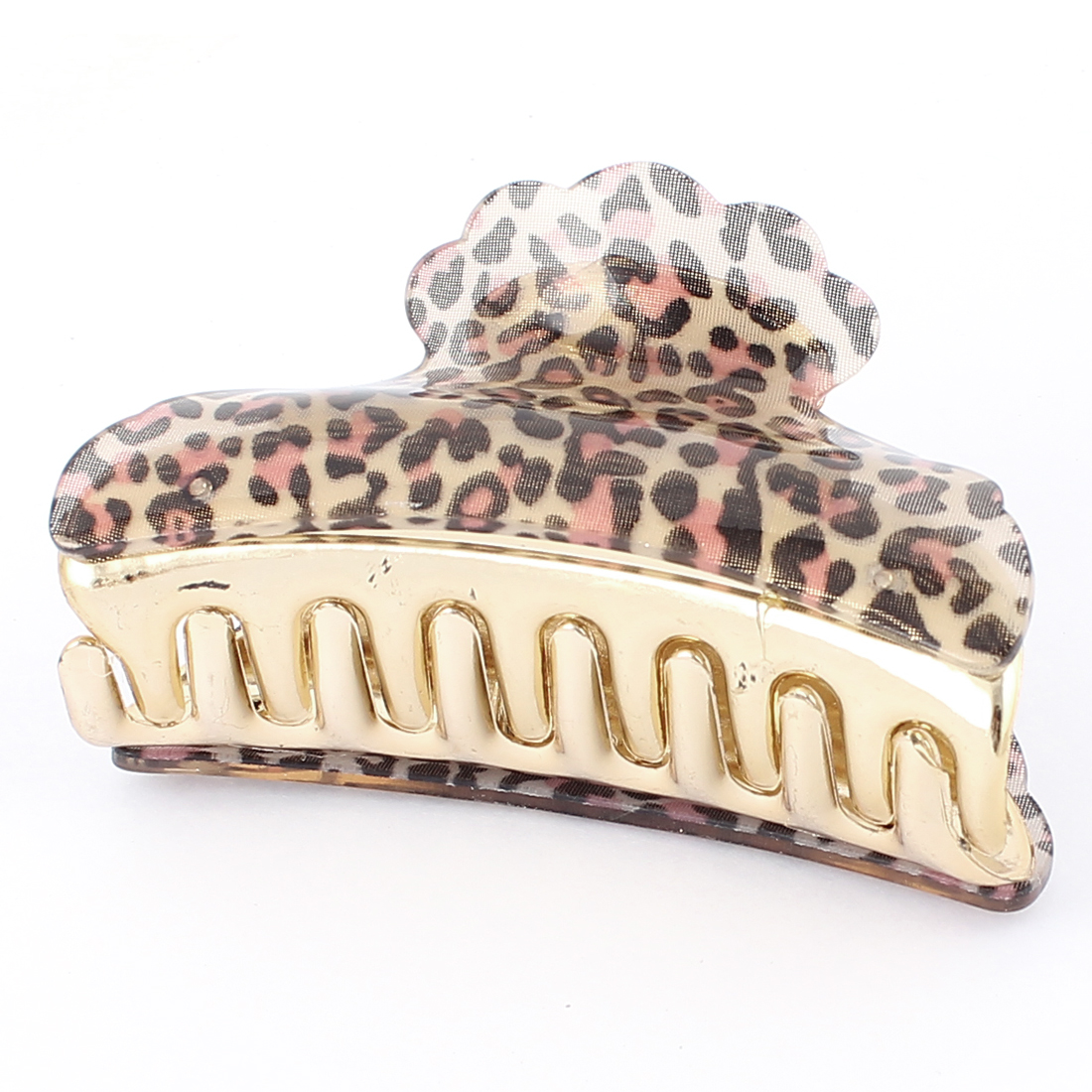 Leopard Polka Dot Print Plastic Hair Clip Claw Clamp Grip Clutcher