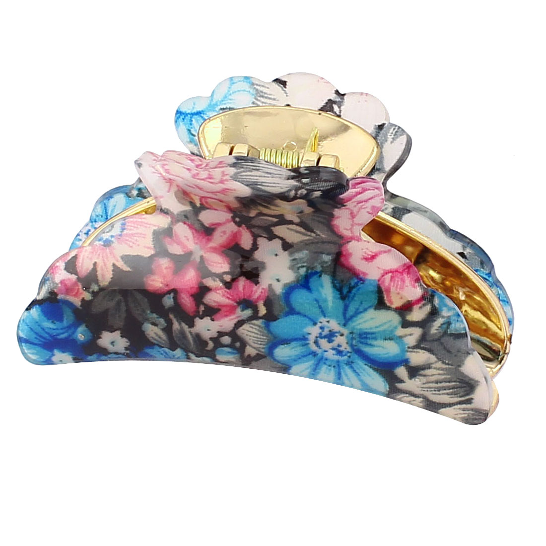 Plastic Spring Loaded Flower Print Hair Claw Clamp Blue Fuchsia Gold Tone