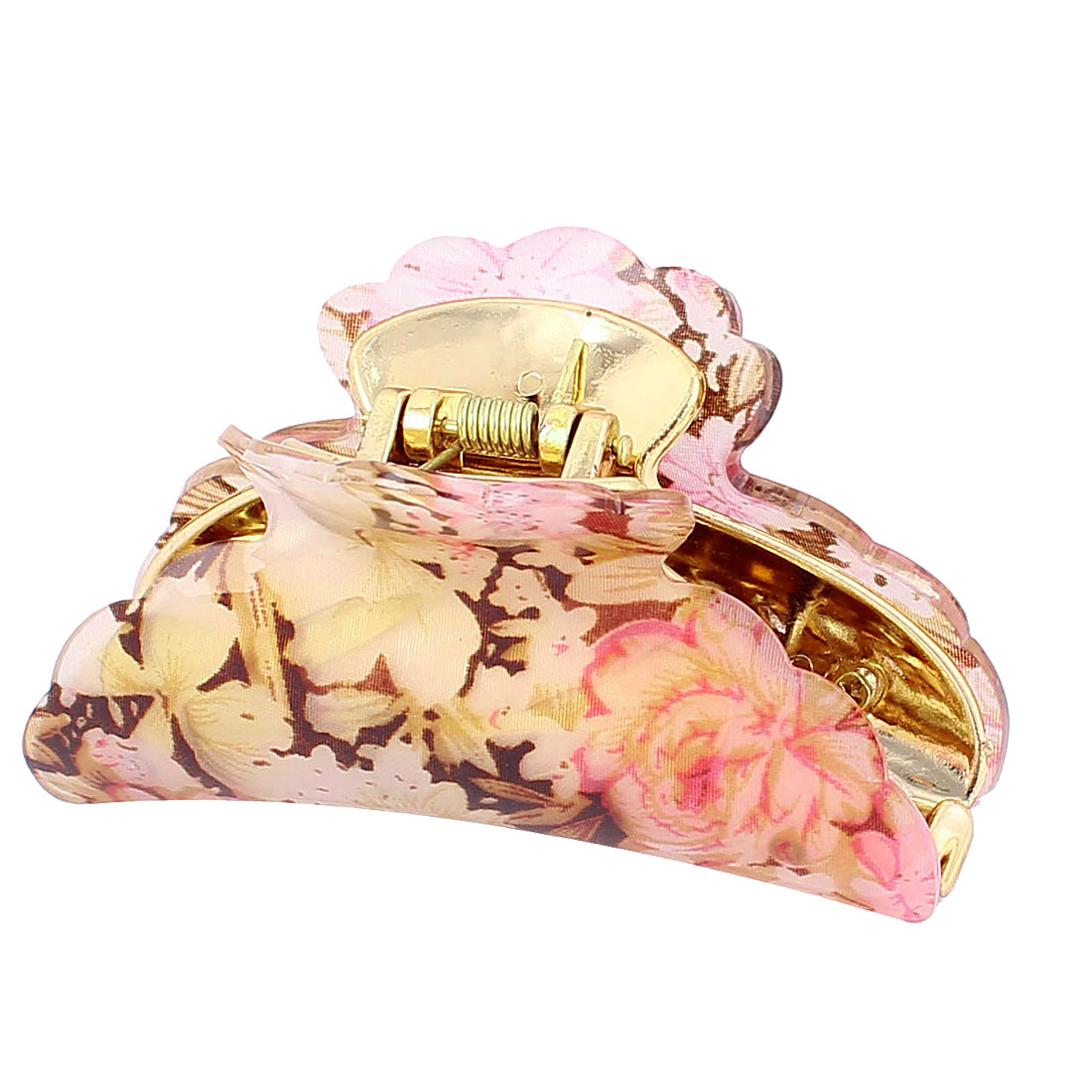 Lady Hairdressing Flower Print Crescent Shape Hair Claw Clip Clamp
