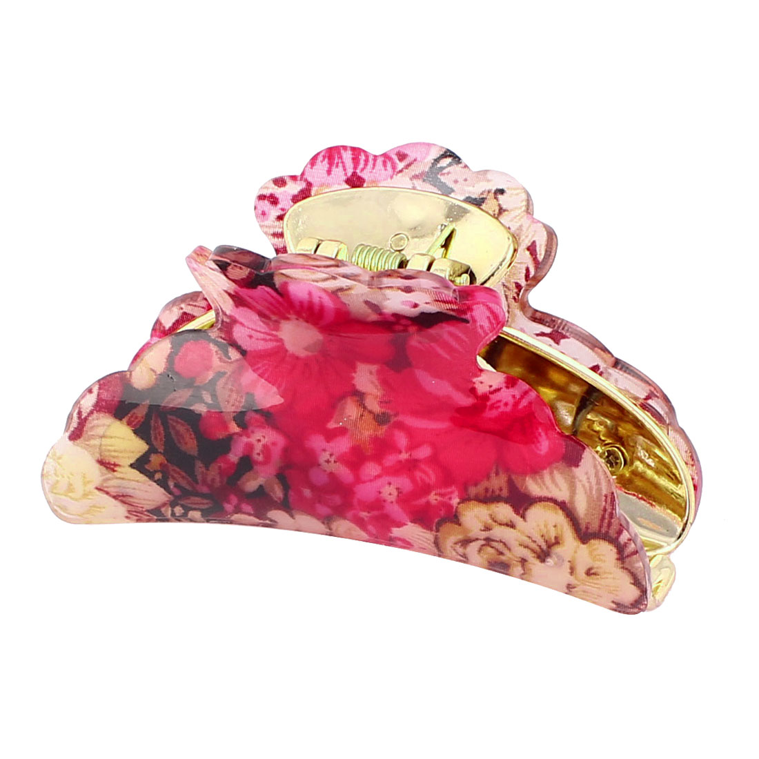 Lady Woman Floral Printed Plastic Teeth Jaw Hair Claw Clamp Clip