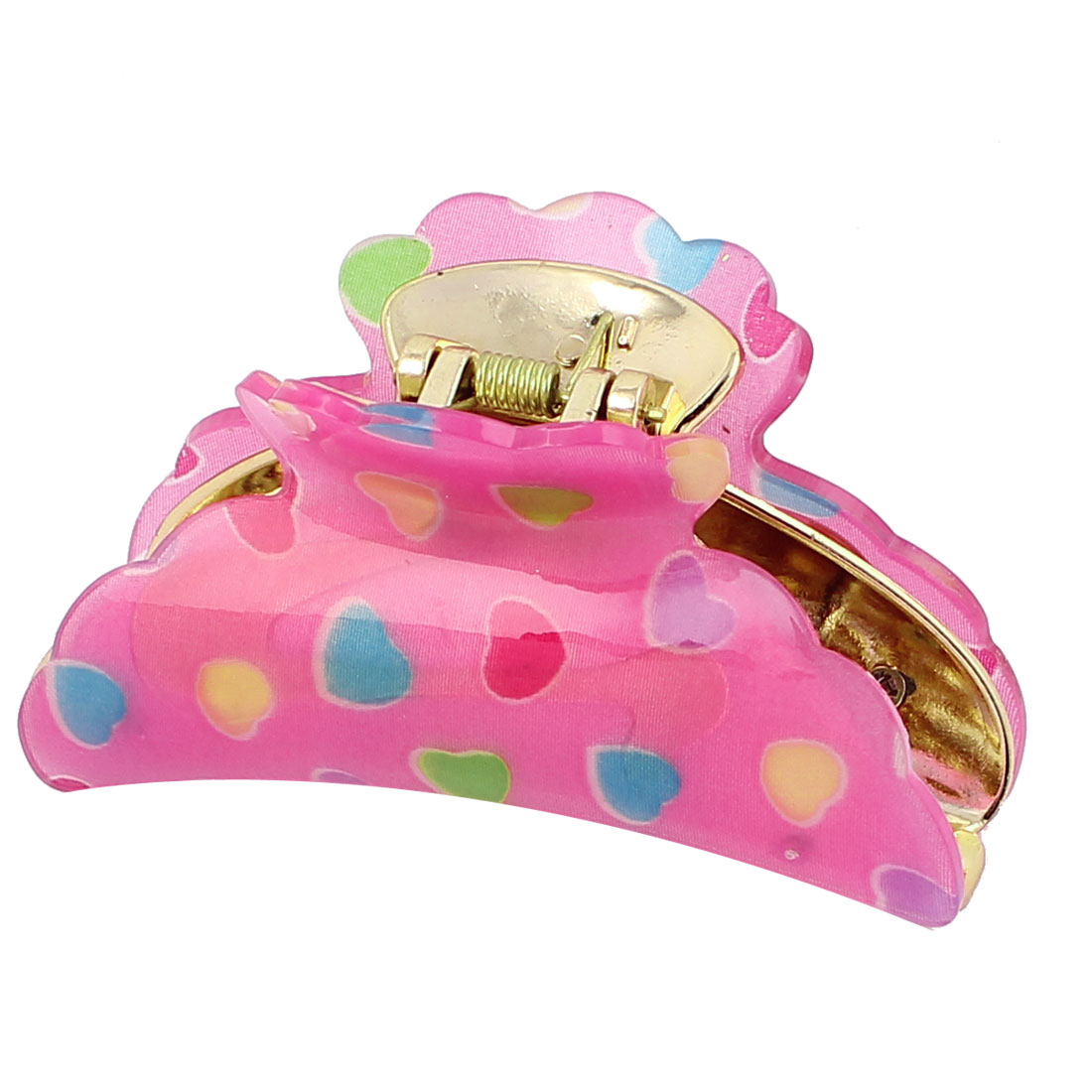 Women Heart Pattern Plastic Hair Claw Clip Clamp Hairclip
