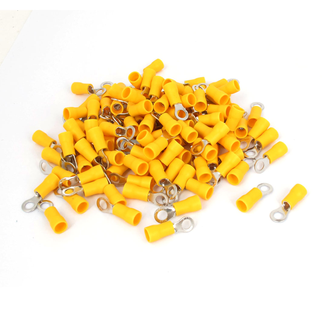 120pcs Yellow Boot RV3.5-6 Wire Cable Pre-insulated Ring Terminals Connectors