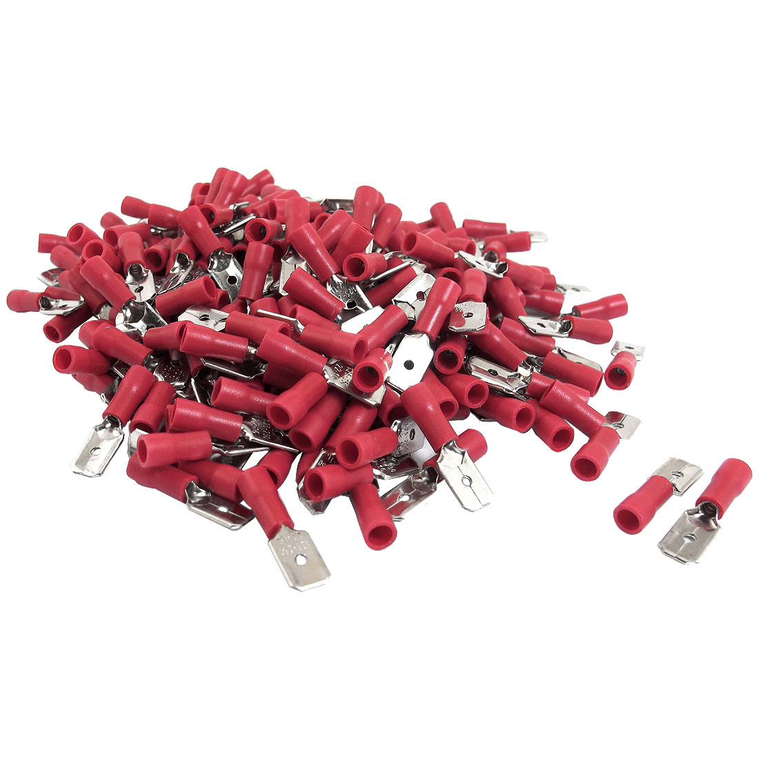 240 Pcs MDD1.25-250 Cable Wire Flat Flake Insulated Terminal Connectors Red