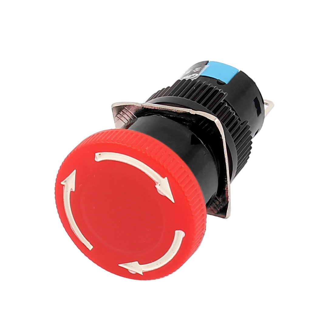 AC 250V 3A DC 30V 5A Panel Mounting SPST Rotary Reset Emergency Stop Red Head Push Button Pushbutton Switch