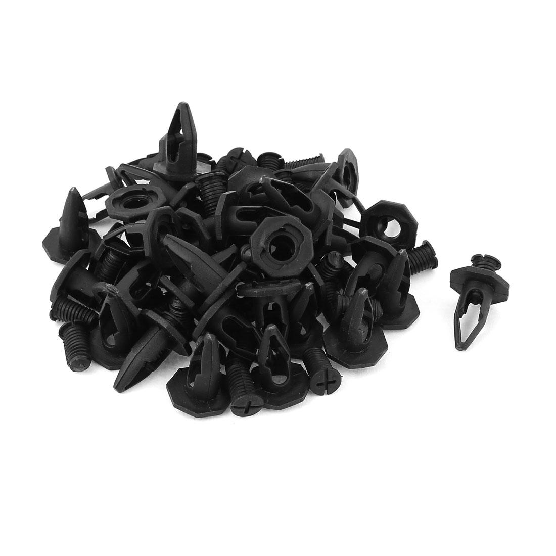 40Pcs 10mm Hole Diameter Plastic Rivet Clips Black for Car Van Truck
